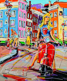 Mathias - Street of Amsterdam, red scooter and girl