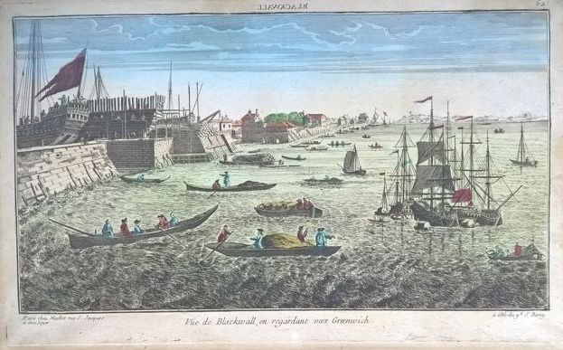 Engeland, Greenwich; Maillet - Vue de Blackwall, en regardant vers Greenwich - 18de eeuw