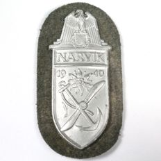 NARVIKSCHILD. Arm Badge of the Narvik Campaign in Silver-Plated Copper