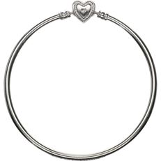 "925 - silver Pandora bangle with brilliant-cut zirconias and engraved with the text ""family forever"" - diameter: 5.7 cm"