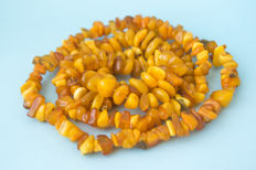 2 raw Baltic Amber necklaces, honey butterscotch egg yolk color, weight: 102 gram