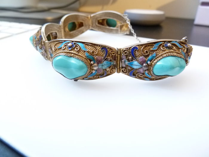 Silver bracelet with natural turquoise and enamel, handmade in India