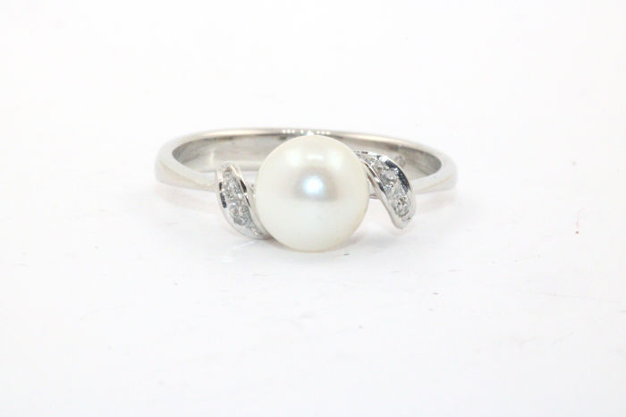 Cultured pearl white gold 585/14 kt ladies' ring - diamonds 0.05 ct VSI W - size 56 (EU)