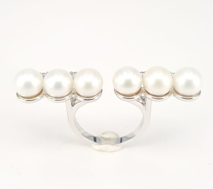 3*3 Akoya Pearl- 11.40 carats and White Diamond- 0.37 carats Open Ended Ring in 18 kt White Gold- FREE SHIPPING