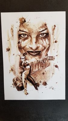 Art Print - Harley Quinn : Coffee Drawing by Juapi (Juan Antonio Abad González )