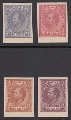 The Netherlands 1872 - King Willem III - selection of Proofs