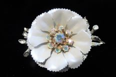 Signed CORO large flower brooch, 1950's