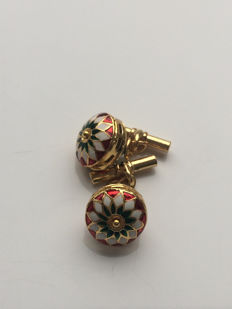 Vintage gilded silver, cloisonné men's cuff links with faceted Emerald bead, No Reserve