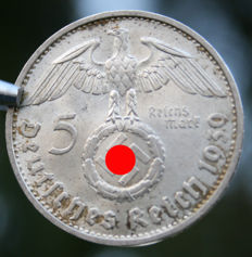 Set with large pure Silver original 5 Reichsmark Deutsches Reich 1939 with Eagle & Swastika and Medal ribbon - WWII