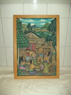 Balinese painting on canvas - Indonesia - second half of 20th century (41 cm)