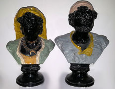 "Two sculptures depicting ""Moors"" - Sicily, early 20th century"