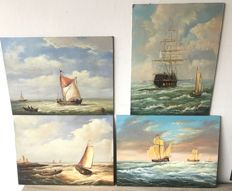 4 panels painted with sailing boats - Netherlands - 20th century