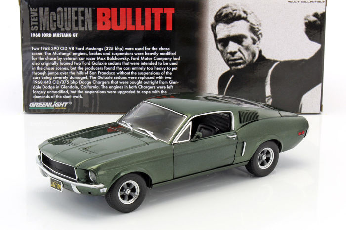 greenlight scale 1 18 ford mustang gt movie car bullitt steve mcqueen 1968 green. Black Bedroom Furniture Sets. Home Design Ideas