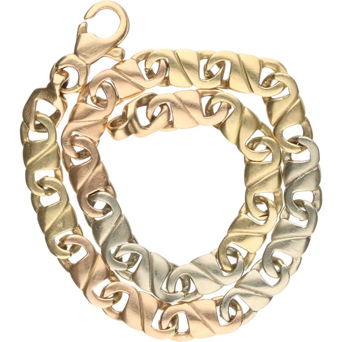 14 kt, Tricolour, white, rose and yellow gold fantasy link bracelet. - length x width: 19.5 x 0.5 cm