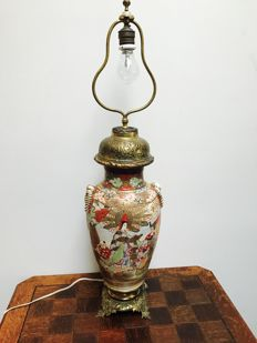 Antique Satsuma lamp with bronze ornaments - Japan - approx. 1920