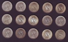 """Republic of Italy, 500 Lira, """"Caravelle"""", 14 pieces and """"Unity"""", 1 coin (15 coins in total) - Silver"""