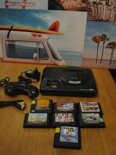 Original Sega Mega drive model 1+all the wires+controller+ 10 Sega games like: Sunset riders+eswat+Asterix+dessert stike,etc
