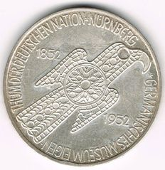 West Germany - 5 Mark 1952 D Germanisches Museum - silver