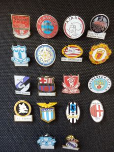 Collection of 18 football pins