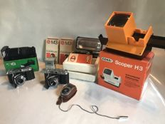 Lot of 2 Voigtländer Vito II cameras and analogue photography equipment