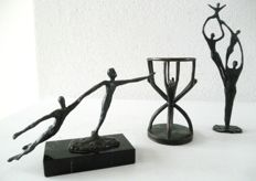 3 beautiful bronze-plated sculptures made by Dutch artists, signed