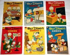 Walt Disney's Comics and Stories Nr 136, 138, 139, 151, 152, en 154 - 6xsc - 1e druk  (1952/1953)