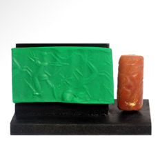 Neo-Babylonian Cornelian Cylinder Seal with Archer, 2.9 cm L