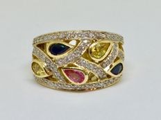 18 ct Gold Diamond Dress Ring 10.67 g set with Sapphires, Ruby, Citrines & Surrounded with Diamonds.