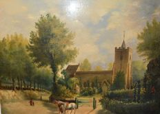 Unknown - A view of a church with figures and horses