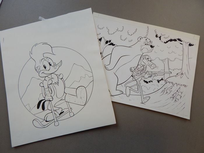 Nicholson, Ray - 2x Original cover - Woody Woodpecker + The Pink Panter - [1970s / 1980s]