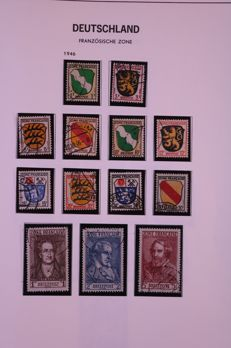 Allied Occupation Germany (French zones) 1946/1949 - Complete collection in Davo LX albm with old default preprint sheets