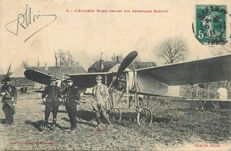 "Aviation - Old postcard "" l'Aviateur Roger Morin devant son Aéroplane Blériot - Autograph of Roger Morin"