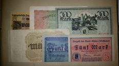 Germany - Emergency money, inflation money, 372 pieces and 3 assignats France