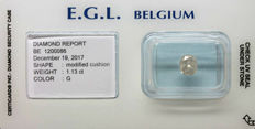 1.13 ct. EGL certificate, diamond, colour G, cushion cut +++