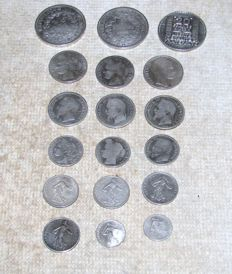 France – Lot of 18 coins (50 centimes to 20 francs) 1849/1933 – silver