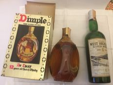 2 bottles - Haig Dimple 12 years old original bottling &  Whigham's Western Highland Scotch whisky 6 years old - 1970s