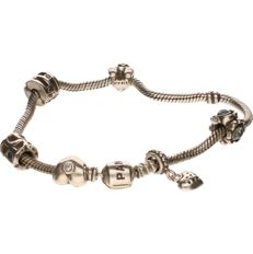 925 Silver PANDORA bracelet, 6 charms including a bear, heart, etc., see photos - Length: 21 cm