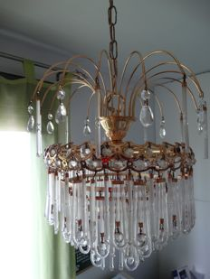 Brass and precious crystals French chandelier lamp from 1965