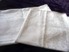 Two very beautiful high-quality art nouveau tablecloths made of the finest silk-linen damask