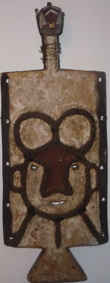 African Mask TOUSSIAN -  Burkina Faso Plank mask with Byrd Polychrome