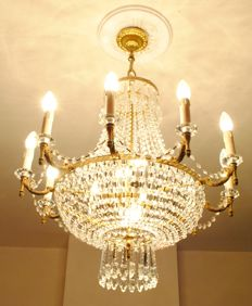 14-light crystal chandelier in Empire style, France, 20th century