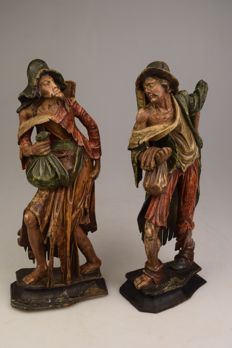 Two beautiful polychrome wooden sculptures - Central Europe - presumably end of 19th century