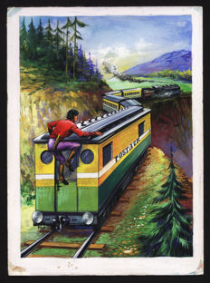 "Dansler, Robert - cover and complete story in 40 original plates - Tarou - ""Panique sur le railway"" - (1964)"