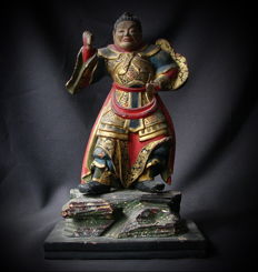 Wooden statue of  a Heavenly Guardian ( Divine General ) - Japan - 19th century (Meiji period)