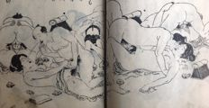 Booklet with about 50 black and white woodcut prints, many with erotic shunga representations - Japan - ca. 1900