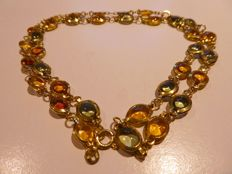 1930 Lot: Necklace + Bracelet in 18 kt gold with natural citrine & tourmaline