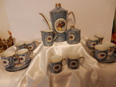 Bavaria, Old coffee service - for 12 people - porcelain - Gallant scenes