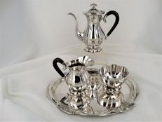3-piece silver mocha set on oval silver tray with Biedermeier engraving, ca. 1900