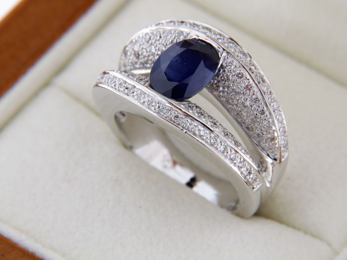 18 kt white gold ring - Size 56