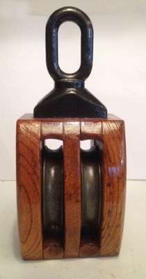 Rare ash-wood double sheave pulley, dated 27-06-1974 with Japanese marine manufacturer's name label.